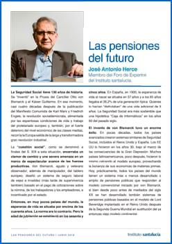 Columna de opinión «Las pensiones del futuro» por José Antonio Herce